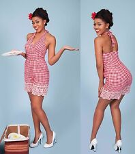 NEW Tatyana Vintage 50s Farmer Girl Red Checkered Romper Shorts Playsuit