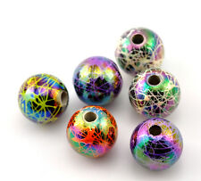 Wholesale DIY Jewelry Acrylic Spacer Beads Mixed AB Color Round 12mm Dia.
