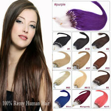 "100S 20""22""24""26"" LOOP/MICRO RING 100% REMY REAL HUMAN HAIR EXTENSIONS STRAIGHT"