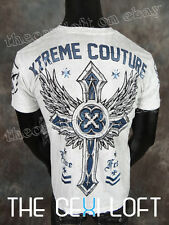 "Mens XTREME COUTURE Shirt ""MODERN WARFARE"" in White Wash MMA Fighter"