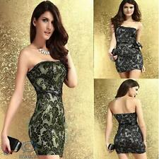 Black Floral Lace Strapless Sexy Mini Stretch Bodycon Evening Party Club Dress