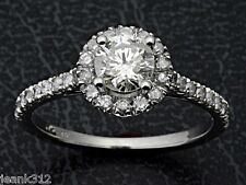 Halo Engagement Bridal Ring Band Set 0.90 Ct Real Diamond Jewelry 14K White Gold
