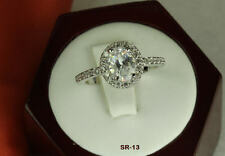 PAVE HALO 2.4CT STERLING SILVER OVAL CZ BRIDAL VTG  ENGAGEMENT WEDDING  RING