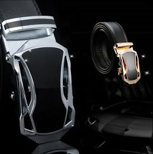 Men's New Fashion Black Genuine Leather Alloy Automatic Buckle Waist Strap Belt