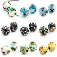 1x Lampwork Glass Flower Animal European Bead For Charm Snake Chain Bracelet DIY