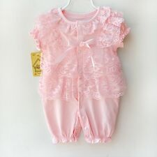 Pink Newborn Infant Baby Girl Princess Lace Romper Bodysuit Dress Outfit Clothes