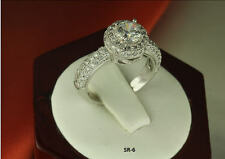 2.89 CT  SOLID STERLING SILVER PAVE ROUND CZ WEDDING ENGAGEMENT HALO RING SZ 5-9