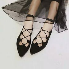 Womens Ballet Ballerina Flats Strappy Lace Up Cut Out Smart Pointed Toe Shoes