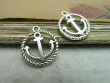 Wholesale 10/20/50pcs Two color round anchor alloy charm finding pendant 18x15mm
