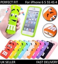 3D M&M Cute Cartoon Silicone Rubber Gel Back Cover Case For iPhone  4 4s 5 5S 6