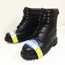 """Men's Steel Toe Work Boots 8"""" Black Genuine Leather Oil Resistant Shoes, Sizes"""