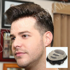 Fine Mono Hair Replacement Skin Front Toupee Men's Hairpiece Bond System Durable