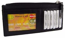 Women's Leather Slim Credit Card Top Zipper Wallet Coin Purse Assorted Colors