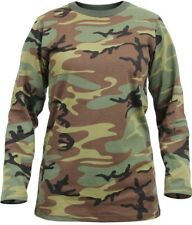 Womens Woodland Camouflage Long Length Military T-Shirt