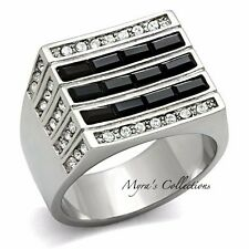 MEN'S BLACK & CLEAR CZ CUBIC ZIRCONIA SILVER STAINLESS STEEL RING SIZE 8-13
