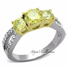 1.95 CT ROUND CUT CANARY YELLOW AAA CZ ENGAGEMENT WEDDING RING WOMEN'S SIZE 5-10