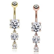 Rose Gold Gem Cascade Belly Button Ring Gold Clear CZ Piercing Sexy Beautiful