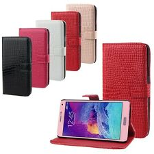 Top Luxury Crocodile Flip Leather Wallet Case Cover For Samsung Galaxy Note 4