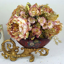 1 Vintage Silk Peony Bunch Wedding Bridal Bouquets Artificial Flower Home Decor