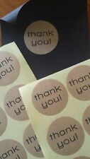 100 x Kraft Paper - 'Thank You' - Circle Stickers - Gift Wrap - Wedding Supplies