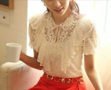 VTG ivory Lace Crochet pearl Victorian Collar SHORT sleeve blouse top S M L XL