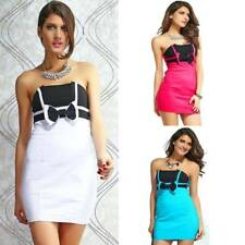 Strapless Casual Evening Party Dress Bow Tie Sexy Mini Gown Elastic Clubwear
