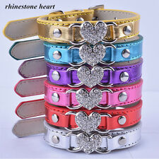 Leather Dog Collar Designer Rhinestone Heart Collar Charm Small Pet Dog Supplies