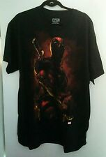 MARVEL COMICS DEADPOOL MEN'S RED & BLACK COTTON T-SHIRT NEW