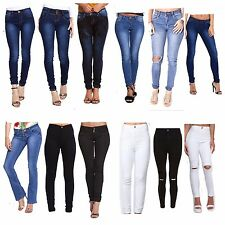 WOMENS LADIES GIRLS HIGH WAISTED EXTREME RIPPED BLACK SKINNY JEANS SIZE 6 TO 16