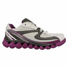 Ascot 'Spring Wave' Ladies White/Charcoal/Purple Textile Lace Up Trainers