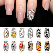 12 Styles 3D Alloy Rhinestone Full Cover Nail Art Tip Metal Charm Decoration New
