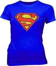 Juniors DC Comics Super Hero Superman Original Classic Logo Blue T-shirt Tee