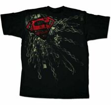 Adult Men's DC Comics Super Hero Superman Shackled Chain Logo Black T-shirt Tee