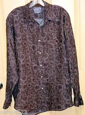 "LUCKY BRAND 100% LINEN LONG SLEEVED SHIRT~ BROWNS~BATIK LIKE~LARGE 46"" CHEST"