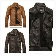 New Men's Fashion Washed Leather Coat Leather Motorcycle Coats Jackets