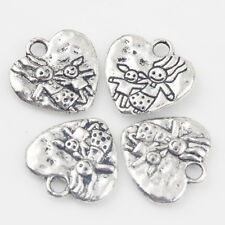 10/20Pcs Tibetan Silver Heart Mother&Daughter Carved Charm Pendants 16*15mm