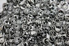 * Ceramic Beads * Black & White Hand Painted - 50 Beads/Pack - Round & Oval
