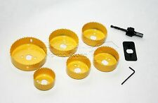 9PC PIECE HOLE SAW SET HOLESAW WOOD DOWN LIGHT CEILING LIGHT INSTALLATION KIT