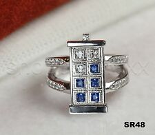 Art Deco Ladies Blue Sapphire & White Dr. Who Tardis Ring- 925 Sterling Silver