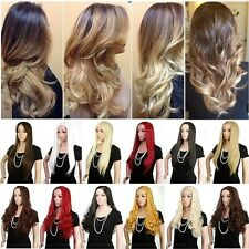 USA 25'' Long Straight Curl Wavy Ombre Hair Wig 3/4 Full Wigs Red Black to Brown
