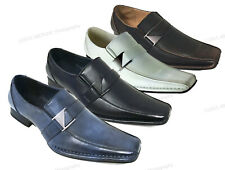 New Mens Dress Shoes Casual Loafers Elastic Slip On Fashion Buckle Italian Sizes