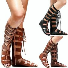 New Women SRe Tan Black Strappy Gladiator Knee High Tall Sandals 6 to 11