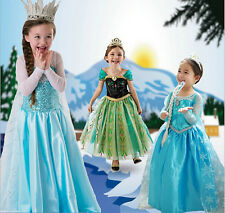 Frozen Princess Girls Elsa Anna Cosplay Costume Party Fancy Dress Elsa Kid Girl