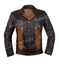 Stylish Genuine Sheep Leather Dark Brown Fashion Biker Jacket for Men #541