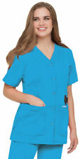 Landau Women's Short Sleeve Four Pockets Snap Front V-Neck Scrub Tunic Top. 8232