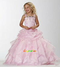 New Pretty Pink Beads Flower Girls' Dresses Girls Pageant Dresses For Wedding  S