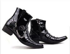 Mens Pointed Toe Black Ankle Boots Metal Chain cowboy  Decor Ankle Strap Shoes