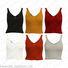 Ladies Women's Short Crop Top V Neck Knitted Stretchy Sleeveless Ribbed Vest