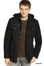 Guess Wool Men's Black Pea coat Hooded Hipster Coat Jacket $299 authentic NEW
