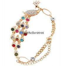 Vintage Luxury Retro Rainbow Colorful Crystal Peacock Bracelet Bangle Cuff Chain